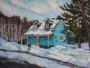 Quebec Turqoise Winter Cabin 2, Oil, 24 X 18